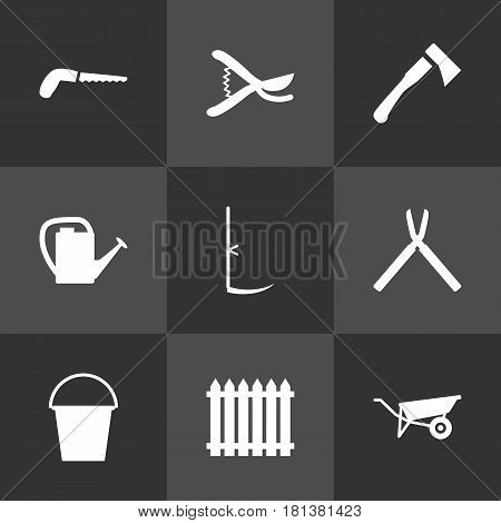 Set Of 9 Horticulture Icons Set.Collection Of Axe, Fence, Bucket And Other Elements.