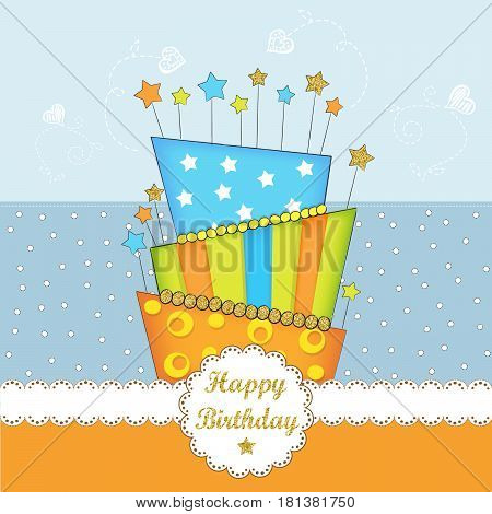 Lovely birthday card with golden glittering details vector format