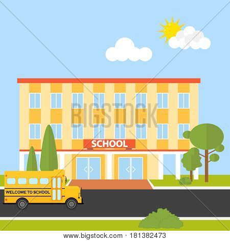 School building with school bus. Flat design vector illustration vector.