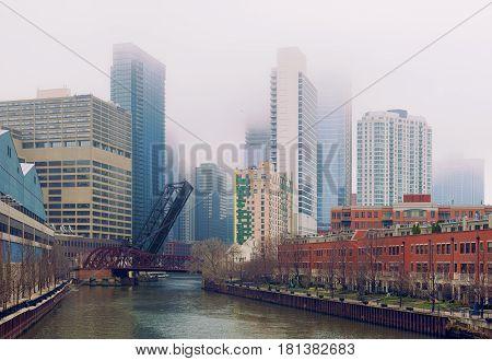 fog at the Bridge in Chicago illinois USA