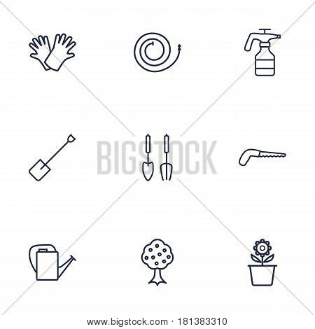 Set Of 9 Household Outline Icons Set.Collection Of Atomizer, Firehose, Bailer And Other Elements.