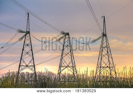 High voltage power line on the evening