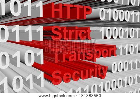 HTTP Strict Transport Security in the form of binary code, 3D illustration