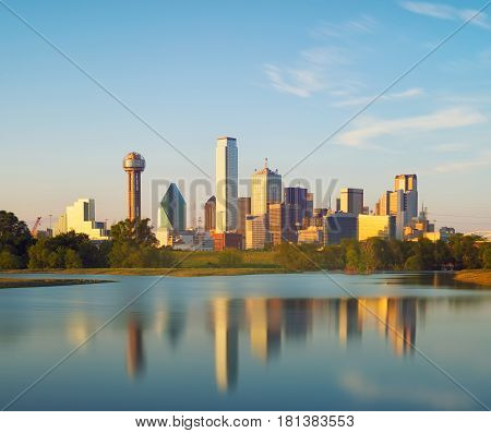 Reflection of Dallas City at sunset, Texas USA