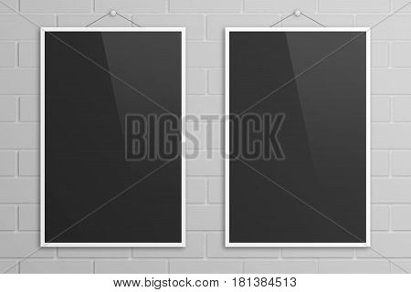 Empty couple of 3D illustration tabloid poster mockups with white frame on bricks wall background.