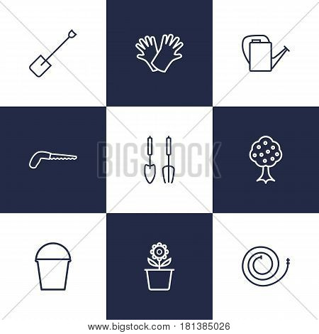 Set Of 9 Farm Outline Icons Set.Collection Of Instruments, Garden, Pail And Other Elements.