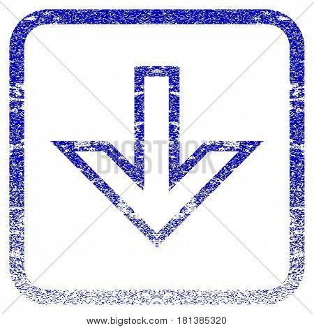 Arrow Down textured icon for overlay watermark stamps. Blue vectorized texture. Flat vector symbol with dirty design inside rounded square frame. Framed blue rubber seal stamp imitation.