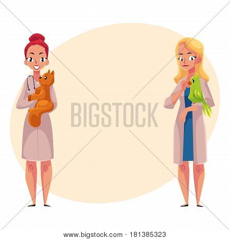 Two women, female veterinarians, vets in medical coats holding cat, pet and parrot, bird, cartoon vector illustration with space for text. Female vets, veterinarian doctors holding pets