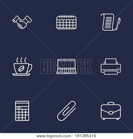 Set Of 9 Service Outline Icons Set.Collection Of Partnership, Fastener Paper, Portfolio And Other Elements.