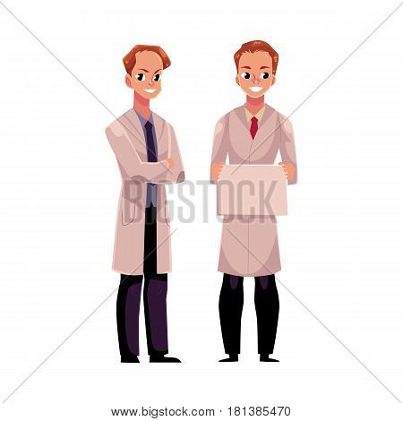 Two male doctors in medical coats, one holding blank board, sign, plate, another with folded arms, cartoon vector illustration isolated on white background. Full length portrait of two man doctors