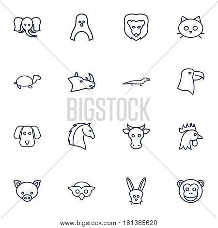 Set Of 16 Alive Outline Icons Set.Collection Of Cow, Penguin, Eagle And Other Elements.