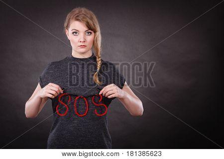 Sad Unhappy Woman Needs Help.