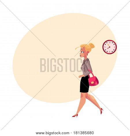 Young blond businesswoman hurrying, being late to work, feeling nervous, cartoon vector illustration with space for text. Businesswoman, business woman hurrying to work in the morning time