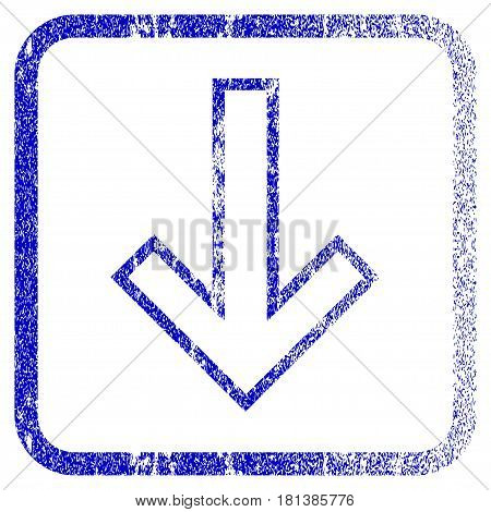 Arrow Down textured icon for overlay watermark stamps. Blue vectorized texture. Flat vector symbol with dust design inside rounded square frame. Framed blue rubber seal stamp imitation.