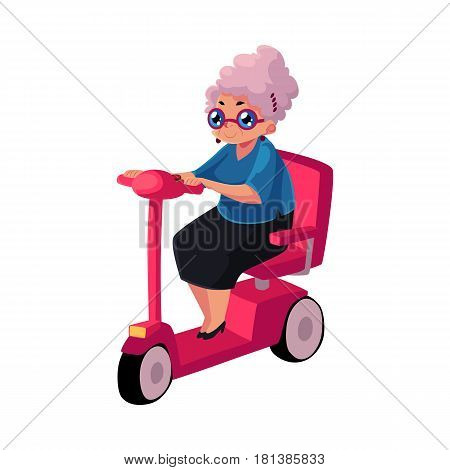 Stylish old lady driving, riding modern scooter, moped, personal transport concept, cartoon vector illustration isolated on white background. Old woman riding modern style scooter