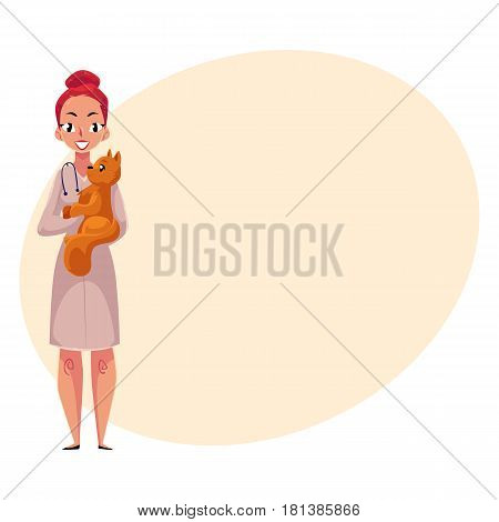 Young woman, female veterinarian doctor, vet in white medical coat holding fluffy cat, cartoon vector illustration with space for text. Female, woman veterinarian doctor, vet holding a cat