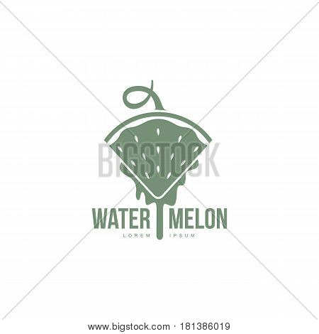 monochrome logo template with side view of stylized triangular watermelon slice pointing down, vector illustration isolated on white background. Watermelon logotype, logo design with watermelon slice