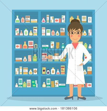 Smiling gesturing woman farmacist at the counter against shelves with drugs and medicines. Drugstore female salesperson at work. Vector illustration in flat style.