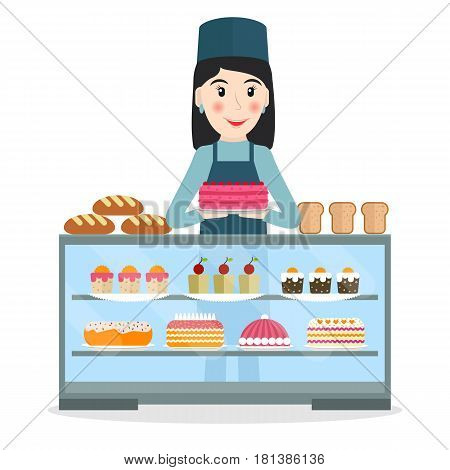 Grocery store or bakery shop female salesperson near vitrine with cakes and pastry in flat style. Smiling woman bakery seller at the counter.