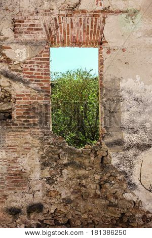 An old brick wall with a window opening to a green tree and blue sky, with a place for text