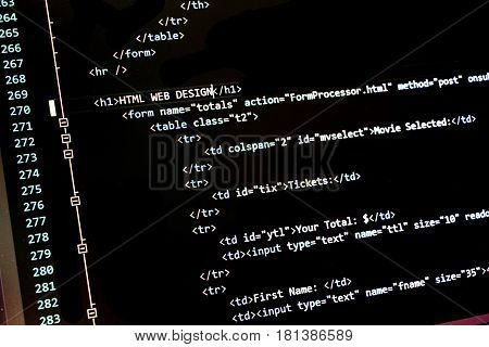 Close up shot of complex computer code