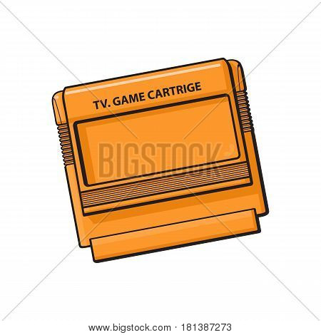 TV game cartridge in plastic orange case from 90s, sketch style, hand drawn illustration isolated on white background. Realistic hand drawn, sketch style retro, vintage TV game cartridge
