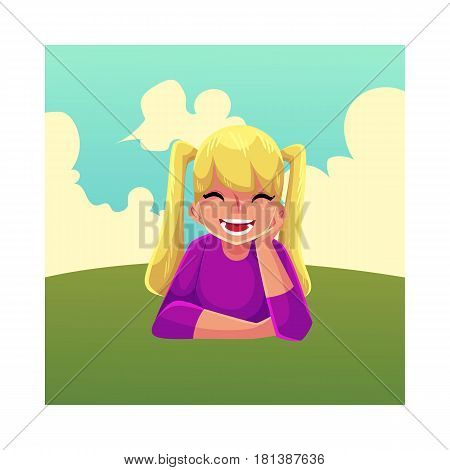 Teenage girl with ponytails of long blond hair lying on green grass under summer sky, colorful cartoon vector illustration. Girl, kid, child lying on the grass, summer vacation concept