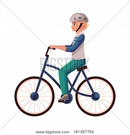 Teen boy, teenager riding urban bicycle, cycling in helmet, cartoon vector illustration isolated on white background. Full length, side view portrait of fair haired boy riding a bicycle, cycling