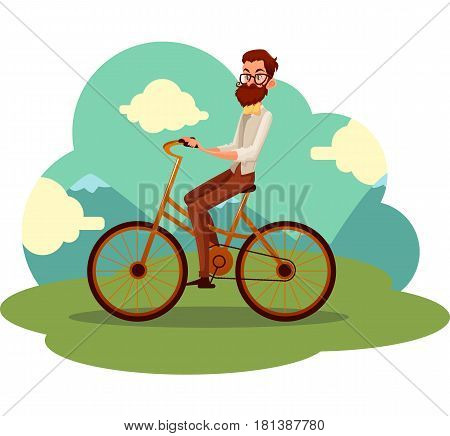Bearded man in vest and bow tie riding a bicycle, cycling, cartoon vector illustration. Full length, side view portrait of bearded man, scientist riding a bicycle, cycling in countryside,
