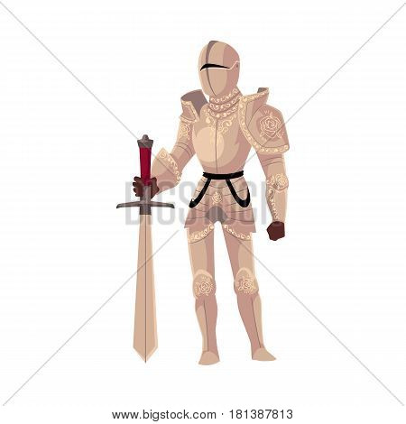 Medieval knight in decorated metal suits of armor holding big sword, cartoon vector illustration isolated on white background. Full length portrait of medieval heavy armored knight with sword