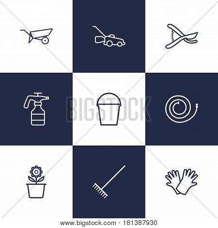 Set Of 9 Farm Outline Icons Set.Collection Of Harrow, Barrow, Plant Pot And Other Elements.