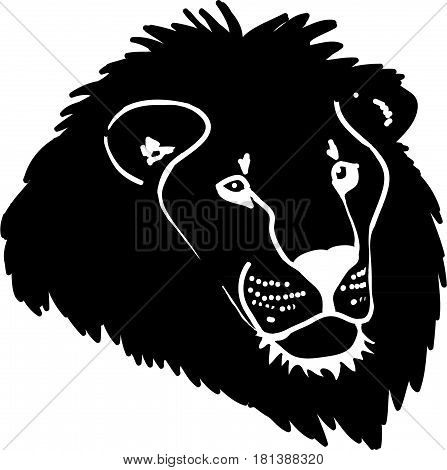 Lion head vector icon for web, mobile and infographics. Vector illustration of black and white.