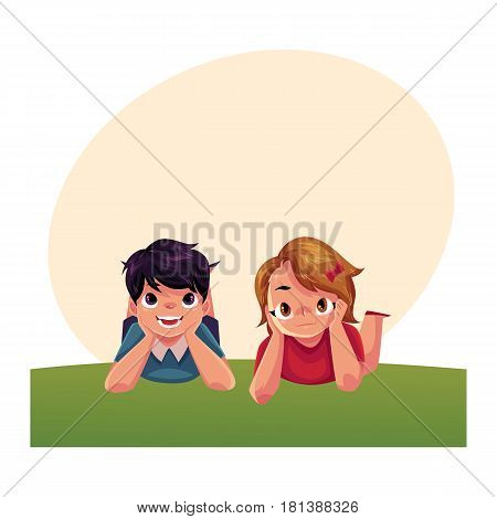Two Caucasian kids, children, boy and girl, lying on grass under summer sky, colorful cartoon illustration with space for text. Teenage kids, children, friends, lying on grass together, enjoying summer vacation