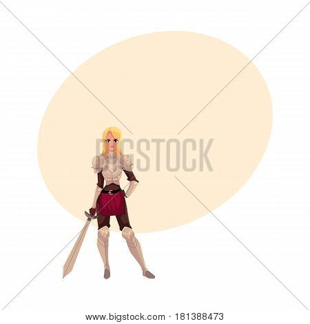 Beautiful blond woman dressed as medieval knight in decorated suit of armor, cartoon vector illustration with space for text. Full length portrait of woman knight in armor holding big sword