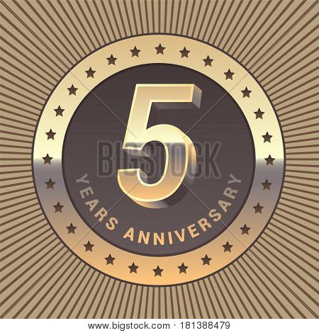 5 years anniversary vector icon logo. Graphic design element or emblem as a golden medal for 5th anniversary