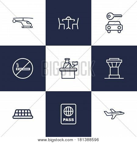 Set Of 9 Land Outline Icons Set.Collection Of Cafe, No Smoking, Passport Controller And Other Elements.