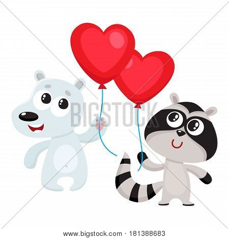Cute and funny bear and raccoon holding red heart shaped balloon, cartoon vector illustration isolated on white background. Bear and raccoon holding heart balloon, birthday greeting decoration elements