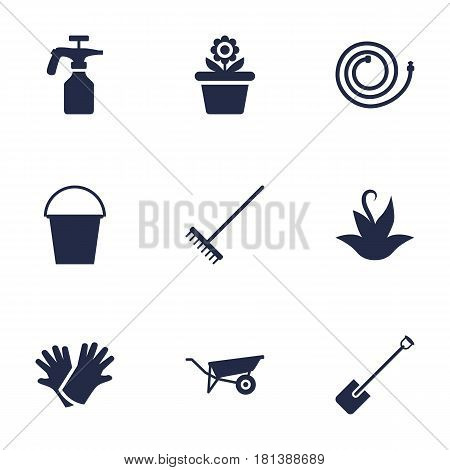 Set Of 9 Horticulture Icons Set.Collection Of Rake, Latex, Bucket And Other Elements.