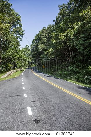 Scenic Country Road Curves Through Shenandoah  National Park