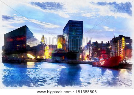 Colorful panting of modern city buildings with river on foreground, Liverpool, UK