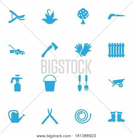 Set Of 16 Horticulture Icons Set.Collection Of Lawn Mower, Latex, Spray Bootle And Other Elements.