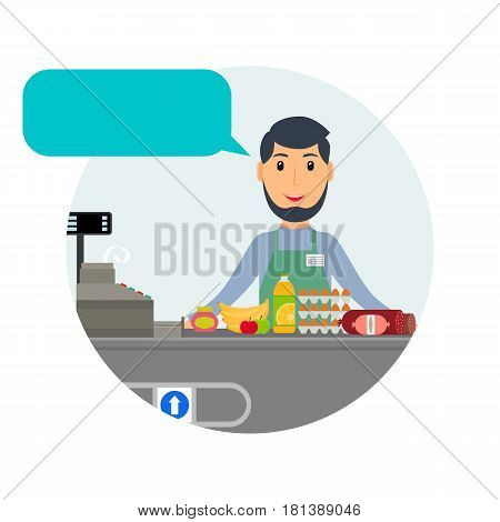 Male grocery cashier with speech bubble at workplace. Smiling man at the cashier desk with food. EPS10 vector illustration in flat style.