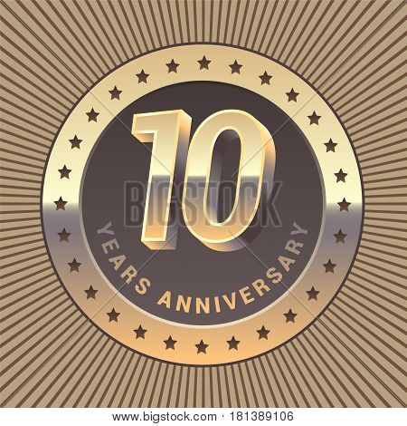 10 years anniversary vector icon logo. Graphic design element or emblem as a golden medal for 10th anniversary