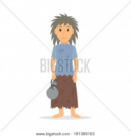 Homeless woman. Female beggar in rags. EPS10 vector illustration in flat style.