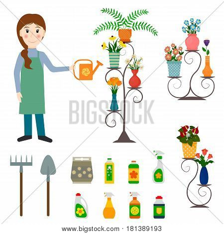 Flower shop florist or female salesperson with houseplants potted flowers on stands fertilizers spade and rake. EPS10 vector illustration in flat style.