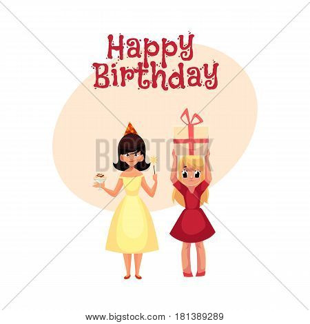 Happy birthday vector greeting card, poster, banner design with Two girls at birthday party, one mischievous with ice cream and magic wand, another holding big gift. Happy girls having fun