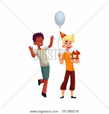 Two boys at birthday party, black dancing, Caucasian holding gift and balloon, cartoon vector illustration isolated on white background. Two boys, kids at birthday party, holding balloons and gifts