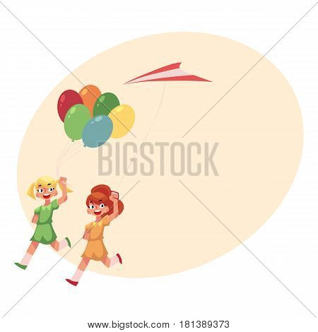 Two pretty teenage girl friends running together with colorful balloons and kite, cartoon vector illustration with place for text. Girls running together, friends with kite, and balloons