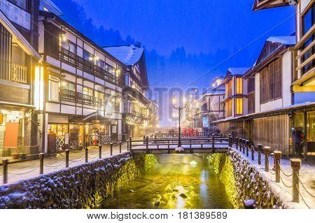 Obanazawa Ginzan Onsen, Japan hot springs town in the snow.