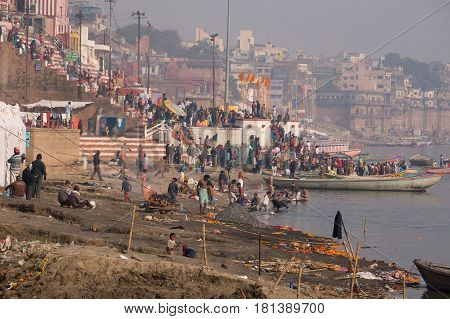 Typical Day On The Banks Of The River Ganges